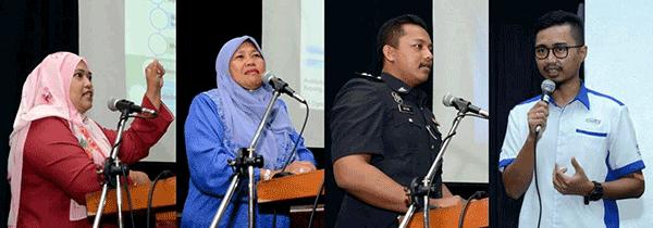 Dari kiri: Maizura, Marsineh, Mohd Razmil dan Mohd Saufi menyampaikan taklimat masing-masing.