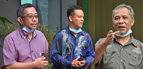 Dari kiri: From left: Ahmad Azaruddin, Ismail dan Abd Latif berucap pada majlis.