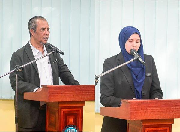 Abd Latif (kiri) dan Nur Faizah berucap semasa majlis. Abd Latif (left) and Nur Faizah speaking at the ceremony.