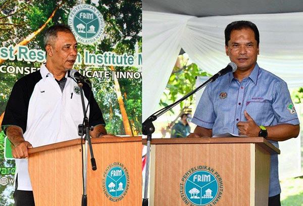 Abd Latif (kiri) dan Mohd Ridza berucap pada majlis.