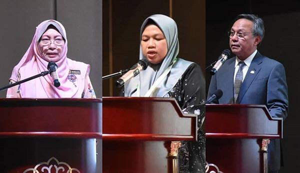 Dari kiri: Marzalina, Rosazlin dan Hasni berucap semasa pembukaan persidangan.