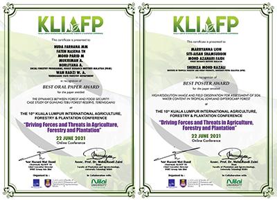 Sijil Kertas Kerja (kiri) dan Poster Terbaik KLiAFP10