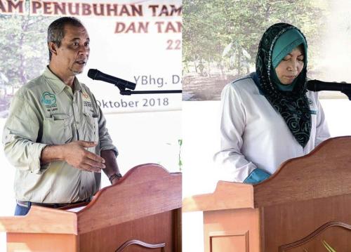 Abd Latif (kiri) dan Marzalina menyampaikan ucapan masing-masing.