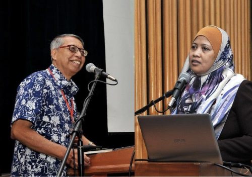 Abdul Latiff (kiri) dan Noorsiha membentangkan topik masing-masing.