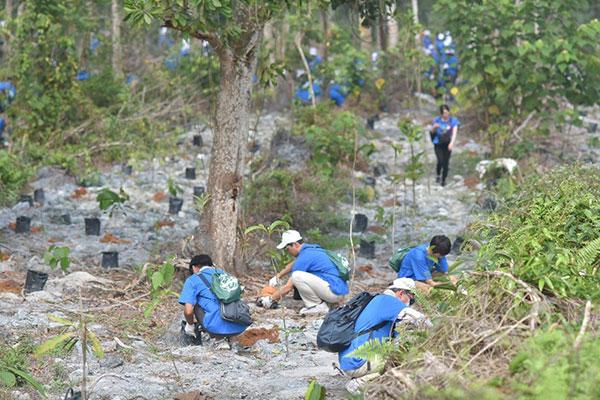 Peserta sedang menanam pokok.
